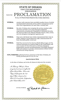 Thumbnail image of 2016 Indiana Amateur Radio Week proclamation