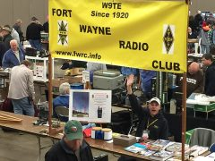 Fort Wayne Radio Club booth at the 2016 Fort Wayne Hamfest, Fort Wayne, Indiana, with Steve Nardin, W9SAN