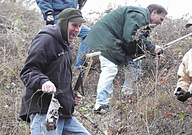 "Fort Wayne Radio Club members test their radio direction-finding skills by participating in a monthly ""foxhunt"" hidden transmitter hunt"