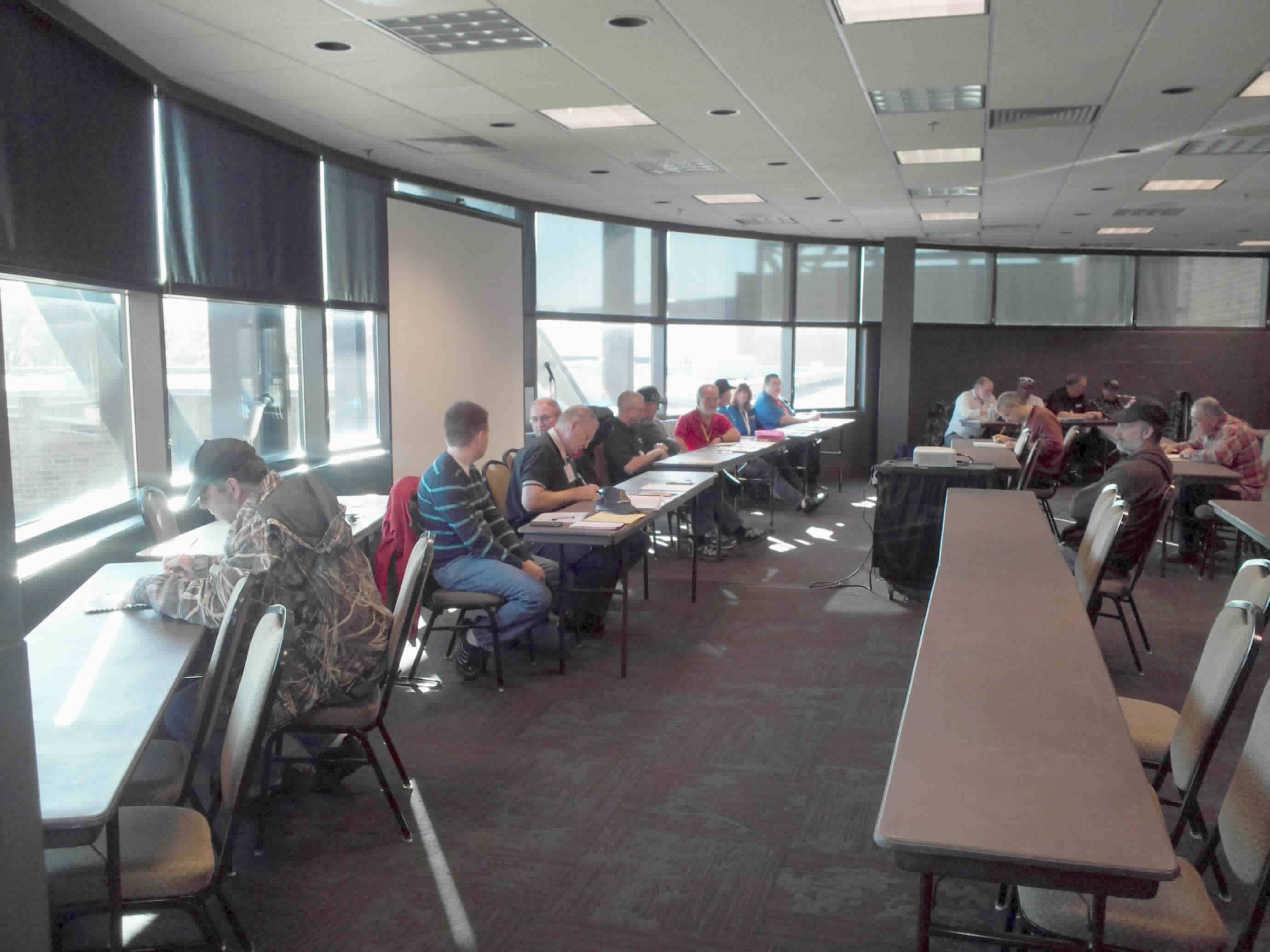 Vounteer examiners conduct FCC amateur radio license exams during the Fort Wayne hamfest, November, 2016