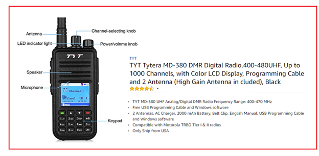 A photo of, and information about, the Tytera (TYT) MD-380 handheld DMR transceiver to be given away by the Fort Wayne Radio Club
