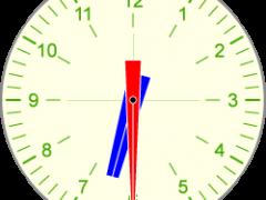 Drawing of analog clock showing 6:30