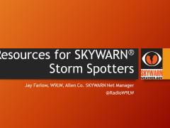 Title slide of Resources for SKYWARN Storm Spotters presentation