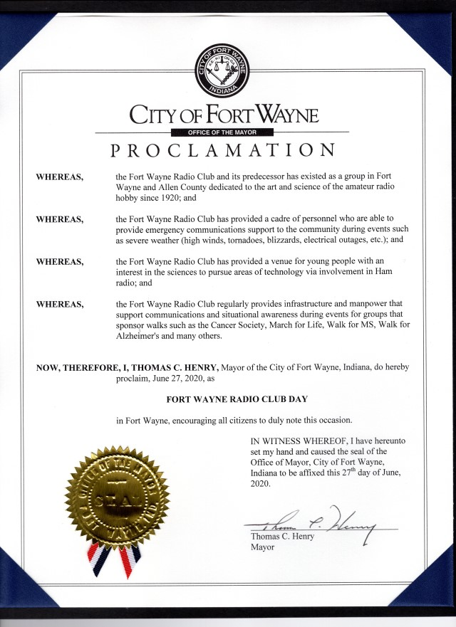 "Mayoral proclamation of ""Fort Wayne Radio Club Day"""