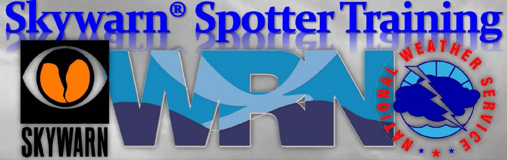 SKYWARN Spotter Training graphic with SKYWARN, WRN and NWS logos.