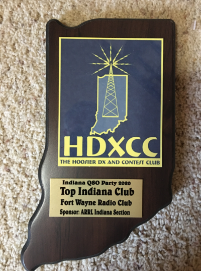 Indiana QSO Party 2020 Top Indiana Club plaque